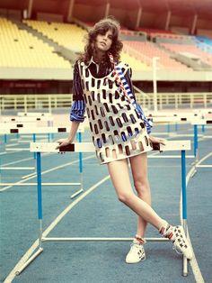 Antonia Petkovic glitters in a metallic shift dress stars in Vogue Brazil Magazine March 2016 issue