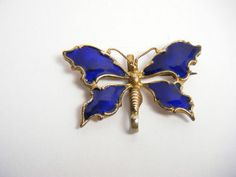 Antique Victorian Edw Cobalt Blue Guilloche Enamel Butterfly Watch Pin Brooch | eBay
