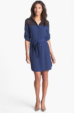 This is interesting DKNYC Chiffon Yoke Roll Sleeve Shirtdress available at #Nordstrom