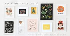For the walls of my creative space and office, art prints by Rifle Paper Co.