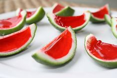 Watermelon jello shots in a lime peel.