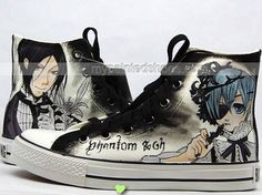 Anime Shoes Black Butler Hand Painted Anime Canvas Shoes Paintin,High-top Painted Canvas Shoes
