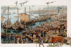 61006. Mycenaean galleys crowd a port in Greece laden with heavy cargo.