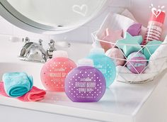 Scented bubble bath and bath bombs for a sweetly refreshing bathing experience.