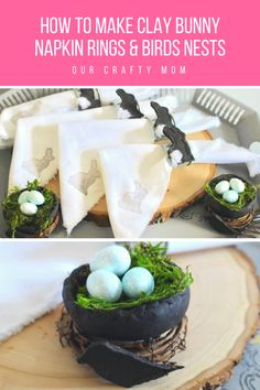 How To Make Clay Easter Bunny Napkin Rings And Birds Nests Our Crafty Mom March is National Craft Month and I have been having fun creating spring and...