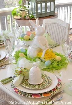 Ceramic Bunny with Basket used as a centerpiece for this beautiful Spring luncheon | Between Naps on the Porch.