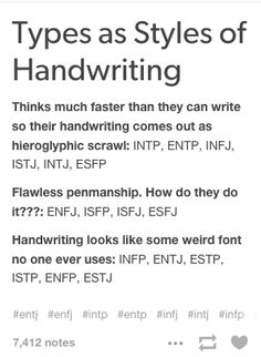 MBTI types as handwriting