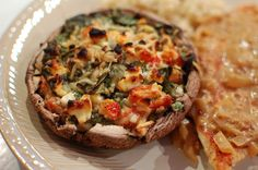 Always looking for high protein, low carb recipes; Spinach and Feta Stuffed Portabella Mushrooms