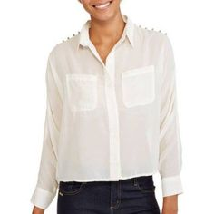 Ali & Kris Juniors Long Sleeve Woven Blouse, Size: Medium, White
