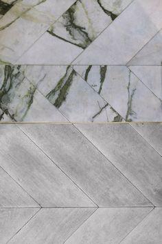 marble + wood herringbone flooring
