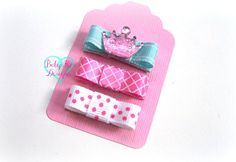 PRINCESS Pack- Pink Crown Hair Clips / Baby Girl Bows / Baby Hair Clip / Infant Clips / Itty Bitty Newborn Bow Clips Aqua Pink White