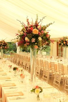 Tall Vase Arrangements for impact in marquee This is beautiful!!!!!