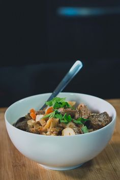 Paleo Crockpot Beef Stew Recipe ---- TO DECARB: Replace potatoes with cubed daikon radish and skip the arrow root powder.