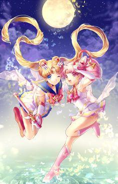 Sailor Moon and Sailor Chibi Moon   byももしき@ Pivix.net