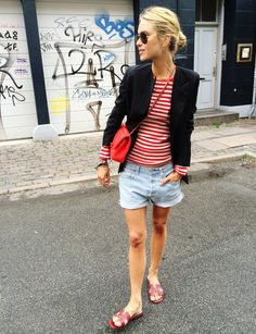 Blazer jacket from Acne Studios, Cotton long sleeved t-shirt from Mads Nørgaard, Denim shorts from Levis, Leather sandals from Hermès, Bag from Chanel, Sunglasses from RayBan.