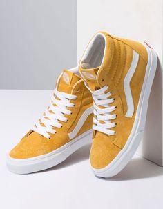 VANS Pig Suede Sk8-Hi Mango Mojito & True White Womens Shoes Vans Sneakers, Slip On Sneakers, Sneakers Fashion, Tomboy Fashion, Girl Fashion, Yellow Sneakers, Fashion Shoes, Vans Shoes Women, Girls Shoes