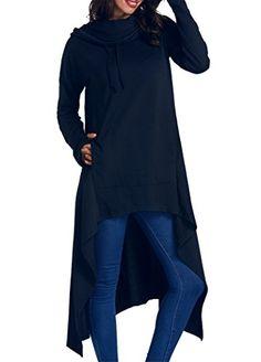 6b4a51335431b onlypuff Women s Pullover Hoodie Asymmetric Hem Sweatshirts Tunic Tops For  Women Solid Color Dress