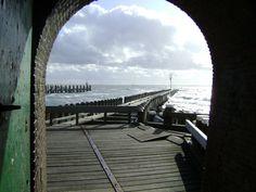 Uitzicht op roeiershoofd vanuit de waterpoort Vlissingen