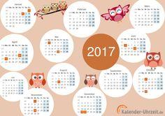 """Motivkalender 2017 zum Ausdrucken - """"Eulen"""" #KalUhr Weitere Kalender Vorlagen 2017: http://www.kalender-uhrzeit.de/kalender-2017/ausdrucken"""