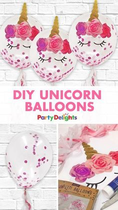 These DIY unicorn balloons are perfect for anyone who wants to put a unique stamp on their unicorn birthday party! All you need is some pink confetti balloons and our free printables, which you can download for free at blog.partydelights.co.uk. Check out even more unicorn party ideas on our blog too.