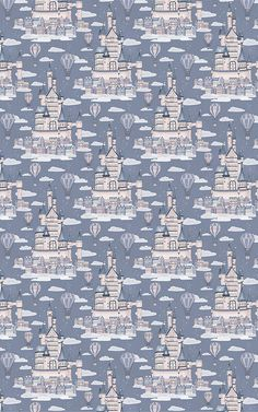 Create a dream like space for your little one to relax in with this Lilac Princess Palace Fairytale Pattern Wallpaper Mural. Featuring a repeat pattern of large fairytale castles amongst the clouds in the night sky, this soothing mural is the perfect feature wall design for your child's bedroom or nursery. Created with hand-drawn illustrations and watercolour details.