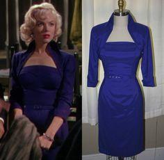 Marilyn Monroe Royal Blue Wiggle Dress Lorelei by Morningstar84, $235.00