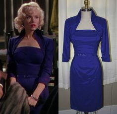 Marilyn Monroe Royal Blue Wiggle Dress Lorelei by Morningstar84, $235.00