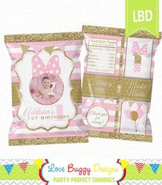Minnie Mouse Treat Bag Printable Candy Bag by lovebuggydesigns