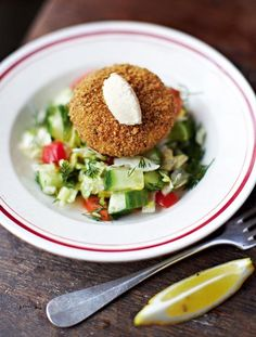 With a zingy chopped salad I've pimped up the classic salmon fishcake with lovely prawns and just enough spice to get the taste buds going