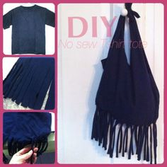 DIY No sew fringe Tshirt tote bag