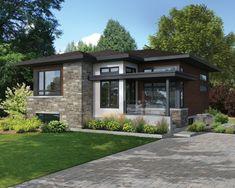 Cette élégante maison de plain-pied se distingue par son architecture originale…