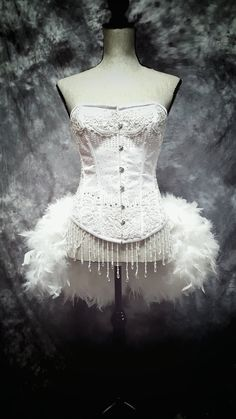 SNOW WHITE Swan Wedding Dress Bridal Corset Feather by olgaitaly
