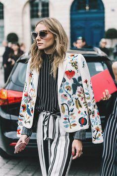 Trinity Sky - colorfulColors lightColors darkColors patternColors blazerOuterwear jacketOuterwear fallSeason briskWeather white colorful embroidered birds floral stripes black white
