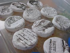 DIY - air dry clay tags / ornaments with rubber stamped debossing