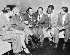 Leonard Feather, Roberta Lee, Les Paul, Django Reinhardt, lionel Hampton, Nat King Cole, Illinois Jaquet.