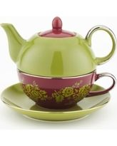 Yedi Houseware CC371 Tea for One Floral Teapot and Teacup, Green and Red