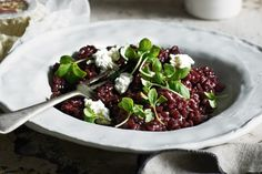 The creamy risotto gets its flavour from the beautiful goat's cheese and fresh herbs.