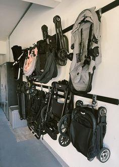Garage Workshop Organization, Garage Organization Tips, Garage Storage Solutions, Organization Ideas, Patio Storage, Baby Storage, Kids Garage, Garage Ideas, Stroller Storage
