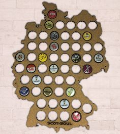 Geschenk-Idee für Vatertag   Bier Karte Deutschland – Perfekt für Sammler    53 Kronkorken, Kork, 43 x 35 cm 93fe6f1d5a