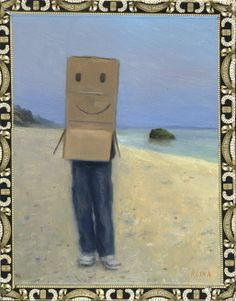 Box Boy, Oil on cigar box, 9 x 7, 2013