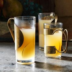 Served piping hot, this toddy of sparkling cider, brandy, and orange liqueur hits a crisp, cool note thanks to thin slices of Seckel pears.