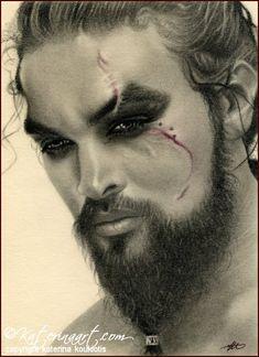 Khal Drogo, Katerina Art ,Fantasy and Portraiture art by Katerina Art,The beautiful pencil art by Katerina Koukiotis