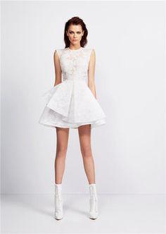 Atractivos una línea Applique del cordón mini longitud corta blanca vestido de fiesta 2015 en Vestidos de Gala de Moda y Complementos en AliExpress.com   Alibaba Group