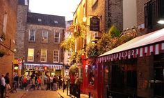 Dublin's Temple Bar district in the evening
