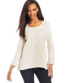 Style&co. Petite Sequin & Lace Patchwork Pullover Top