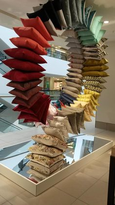 furniture showroom Because why wouldnt you want a cushion spiral Seen at John Lewis Showroom Interior Design, Boutique Interior, Furniture Showroom, Retail Interior, Store Window Displays, Booth Displays, Retail Displays, Store Design, Ad Design