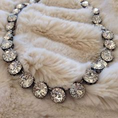 Vintage crystal necklace. Stunning and elegant. Hand-set crystal glass stones sit in beautiful antique 10-prong castings with silver plating. Beautiful!
