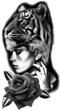 Black And Grey Sleeve, Black And Grey Tattoos, Tiger Tattoo Design, Tattoo Designs, Mom Tattoos, Hand Tattoos, Baby Face Drawing, Indian Girl Tattoos, Catrina Tattoo