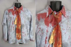 $48.00 Bloody Zombie Costume. ZOMBIE BUSINESS MAN. Distressed Shirt and Yellow Tie. ZOmbie Apocalypse. Adult Costume. Mens Size xl 17.5 by wardrobetheglobe on Etsy