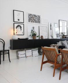 black and white Scandinavian living room.